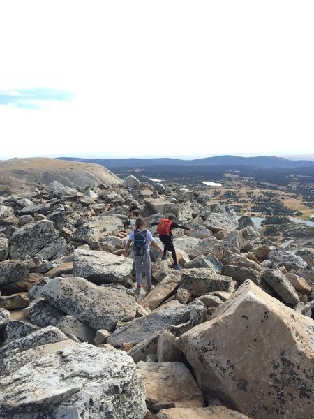 Scrambling back down the boulder field after the summit 09/03/18 (Kids aged 12 and 9)