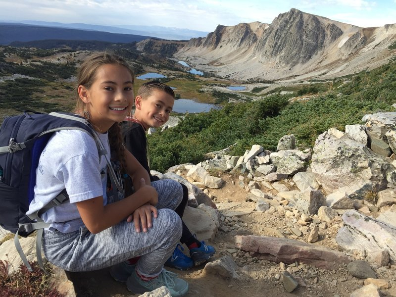 Taking a short break from the switchbacks with beautiful lake views 09/03/18 (Kids aged 12 and 9)