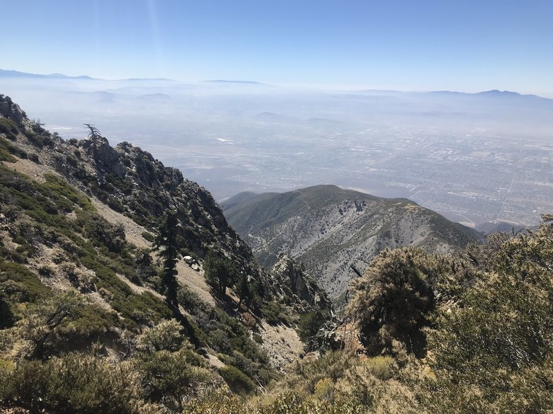 View from the ridge between Cucamonga and Etiwanda Peaks at the Inland Empire.