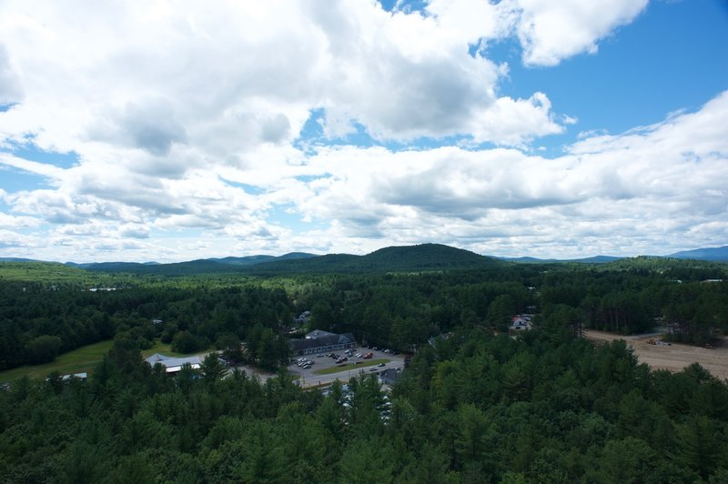 The town of Fryeburg can be seen nestled in the trees below Jockey Cap.  Here, you can see Quinn's Jockey Cap store and the shopping center across the street.