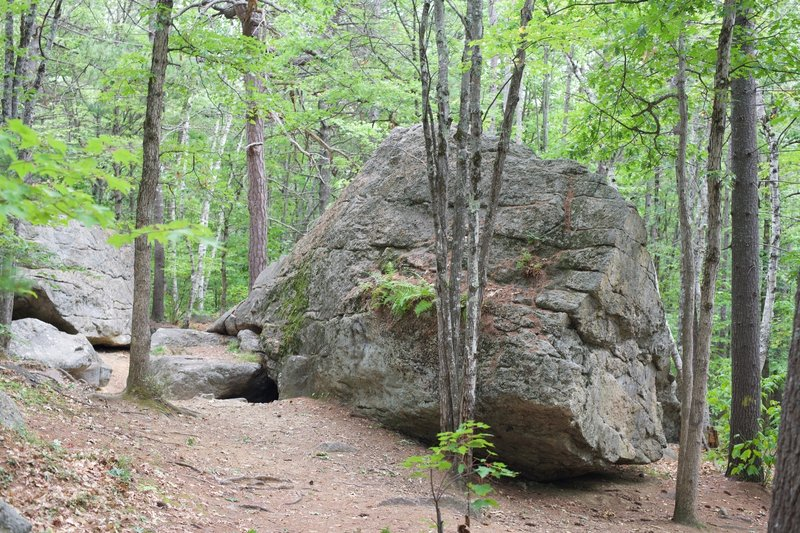 Rocks below Jockey Cap make up Molly Ockett's Cave.   Kids enjoy scrambling on them, and people like to boulder on the large rocks.