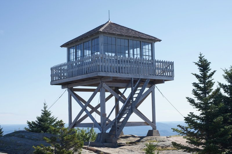 The fire tower at the top of Mount Kearsarge.  You can sleep here if you are overnighting, or just use it as a space place to escape the wind.