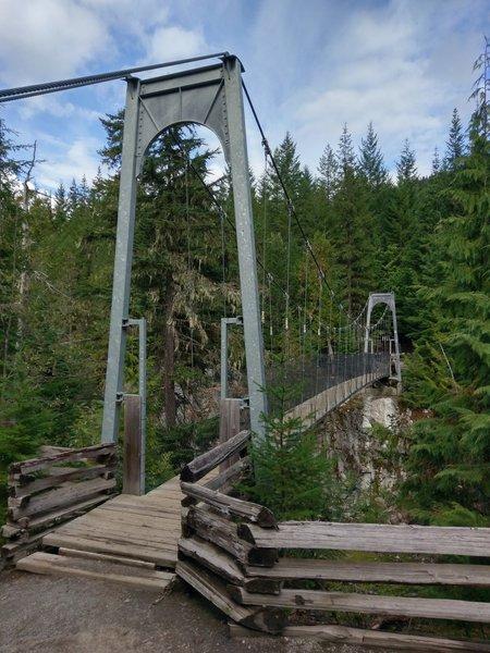 Fun suspension bridge over Cheakamus River