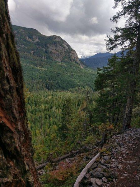 Views up the Cheakamus valley towards high peaks