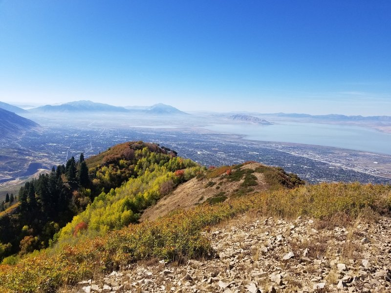 From the top of Baldy looking south toward Orem/Provo.  Wild fire smoke in the sound end of the valley.