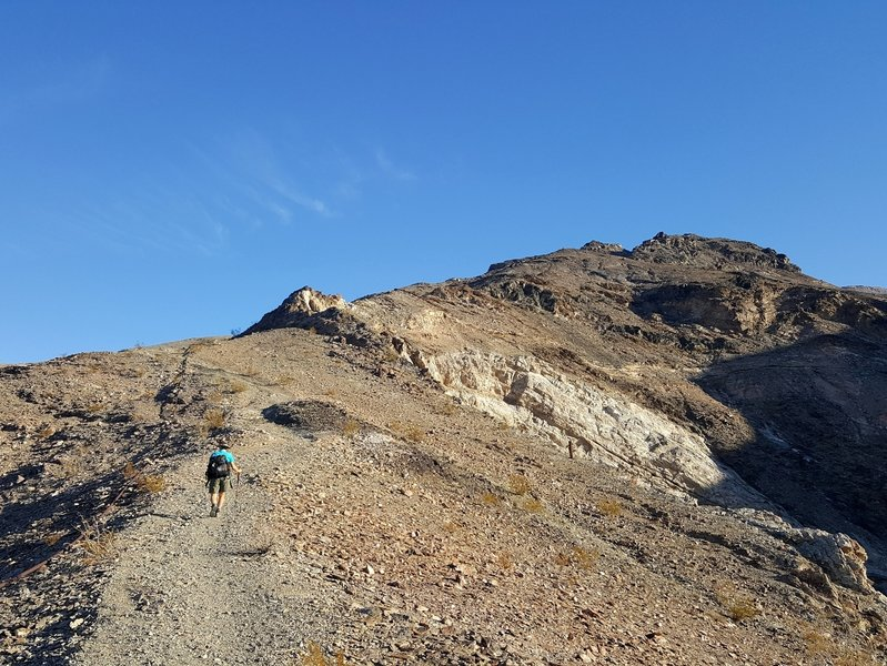 Starting the climb to the upper mine.