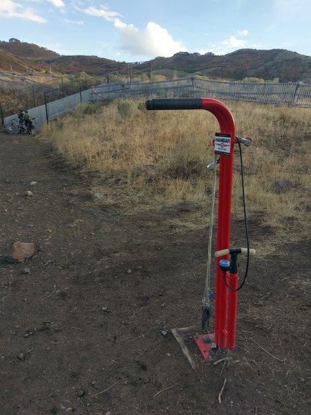 Handy bike pump and tool station!