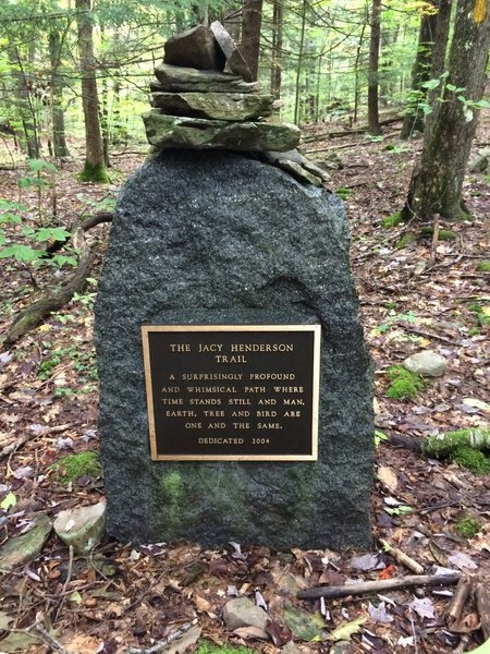Marker at the head of the Jacy Henderson Memorial Trail