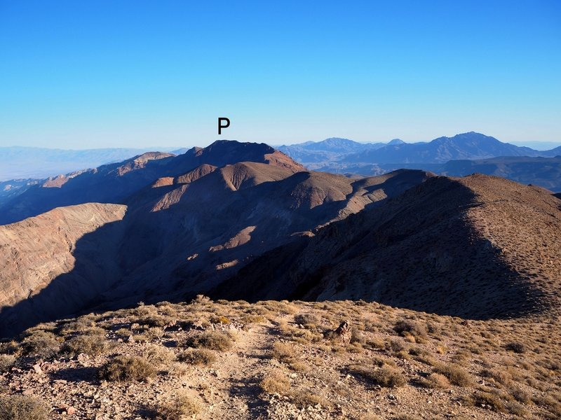 Mount Perry (P) from the summit of Dante's View Peak