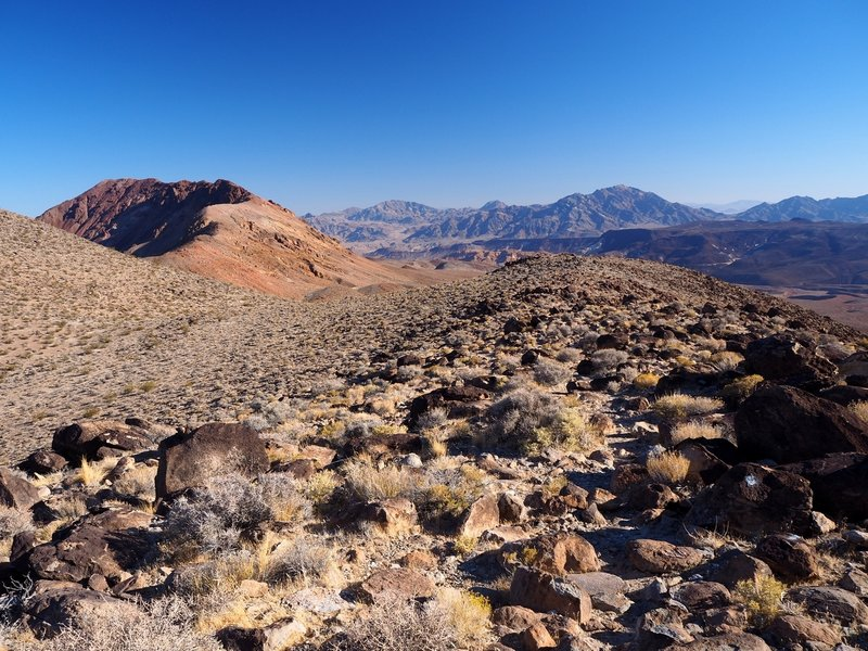 The trail can be a little hard to follow across this boulder field