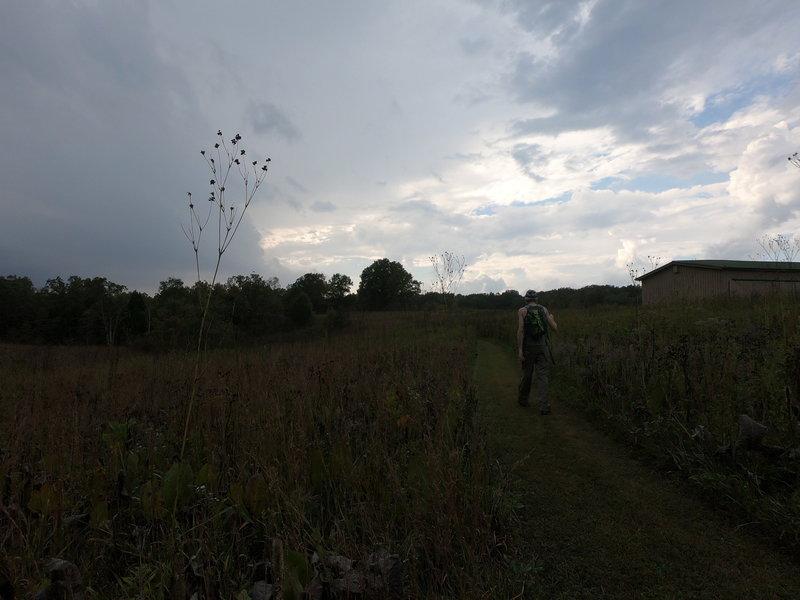 Hiking through the prairie.