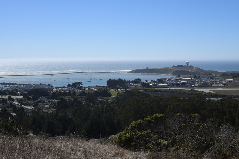 At the intersection of the Clipper Ridge Trail and the Almeria Trail, you get good views of the Pacific Ocean, Pillar Point Naval Station, and the marina.