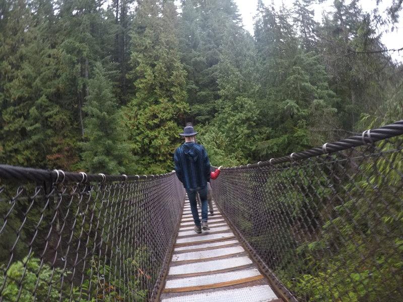Walking down the bridge.