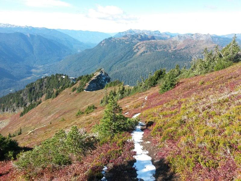 Halfway up summit ridge, looking back.
