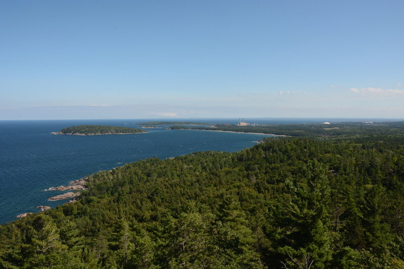 Presque Isle Park in the distance, power plant and Superior Dome aka Yooper Dome to the right