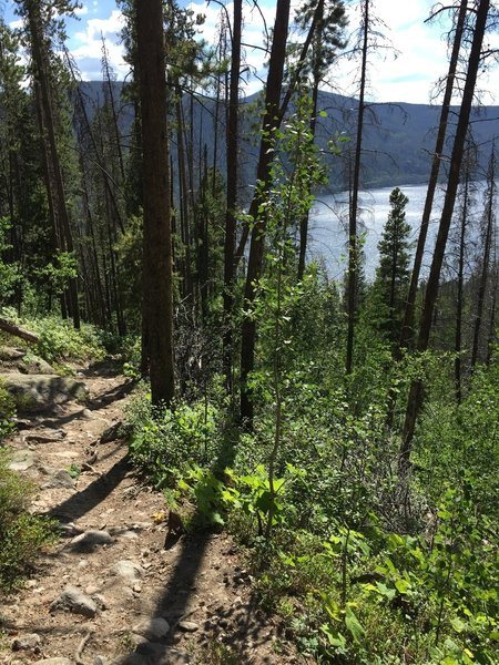 Views towards Lake Granby as you start the steep decent to the trailhead