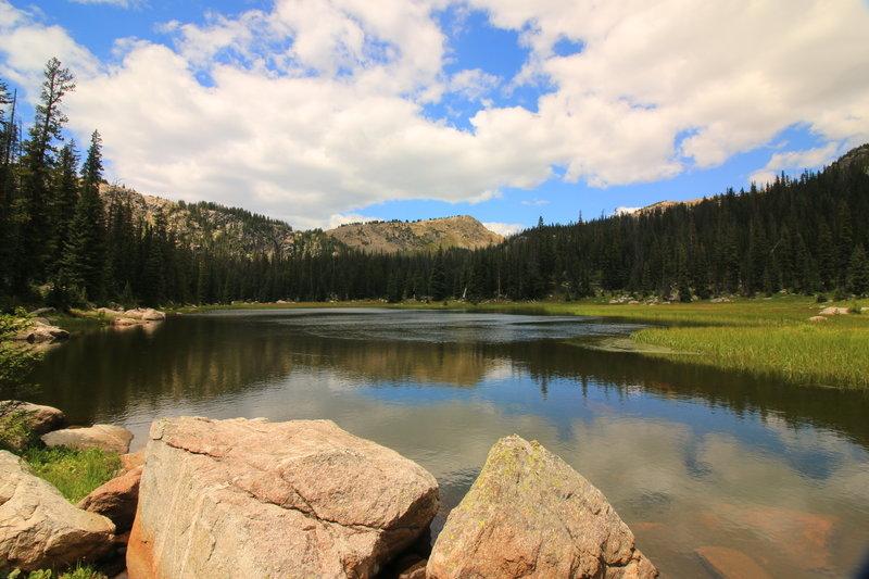 Watanga Lake looking towards Rocky Mountain NP.