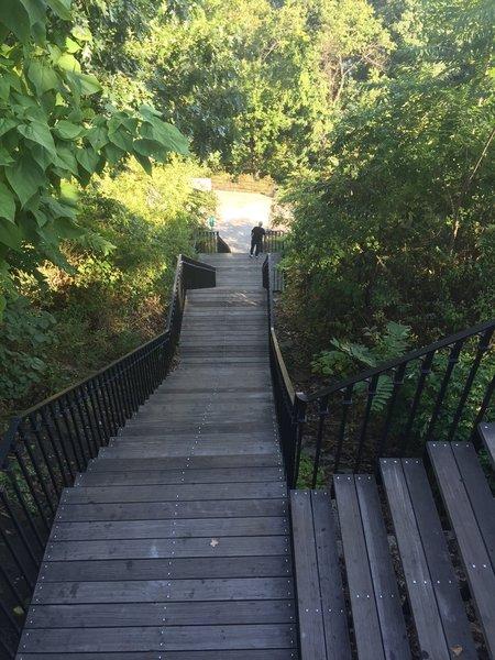Stairs to bridge.