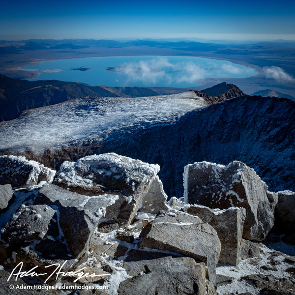 Mono Lake viewed from the summit of Mount Dana on a frosty October morning.