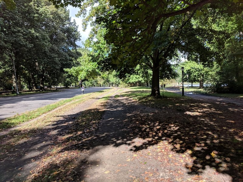 Prospect Park W trail next to the lake looking North