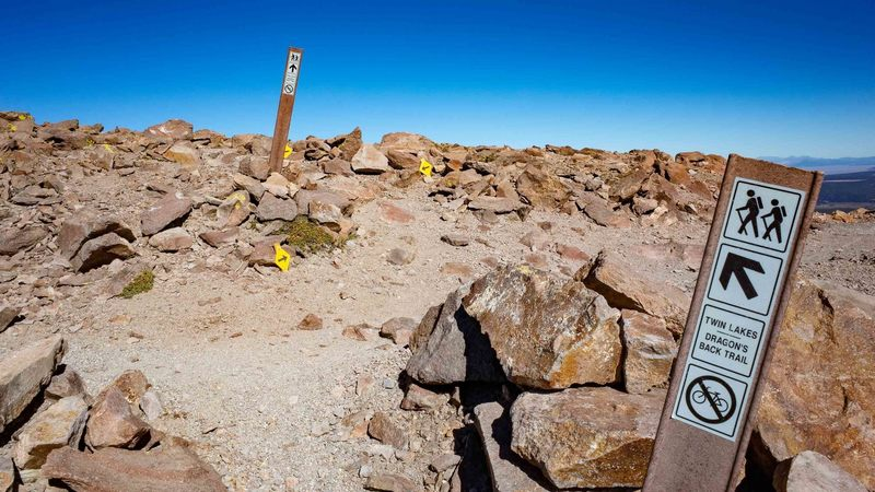 Near the top, cross over the downhill mountain biking trail and follow the ridge to the first summit.