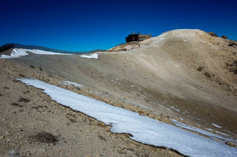 Looking toward the summit of Mammoth Mountain near the ski station.