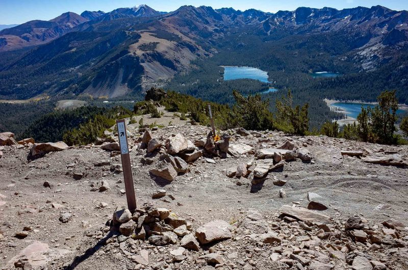 Looking down the Dragon's Back Trail toward Lake Mary, Lake George, and Horsehoe Lake from the ridge below the summit of Mammoth Mountain.