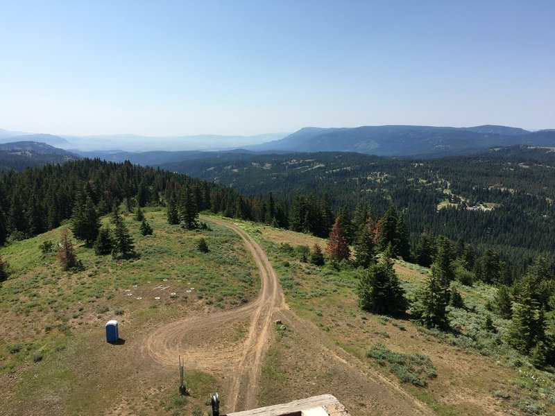 View to south from High Ridge Lookout.  Mt Emily in the center with Elkhorn Mountains in the distance