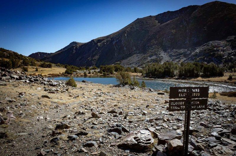 Mono Pass, elevation 10,599 feet.