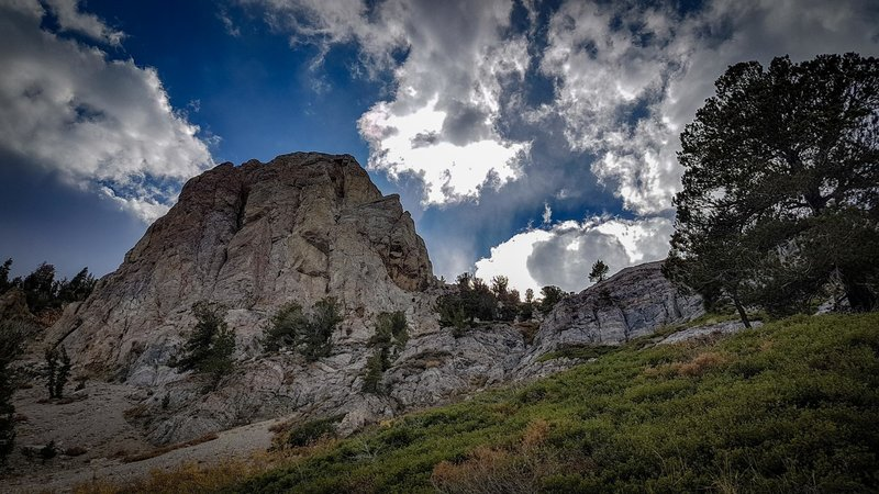 Looking up at Mammoth Rock--a limestone and marble formation--from the Mammoth Rock Trail.