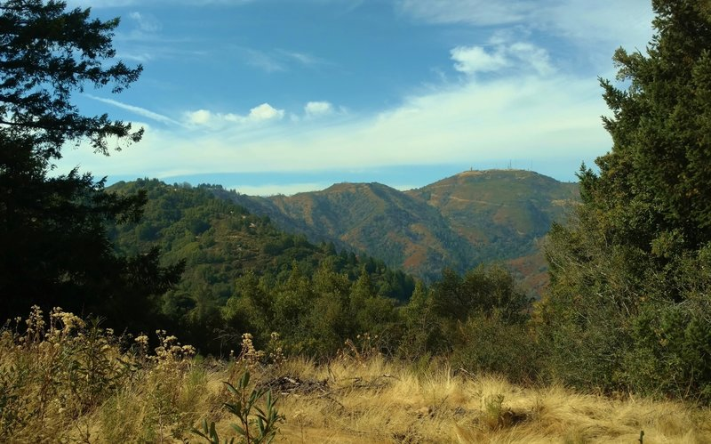 Loma Prieta, the highest peak in the Santa Cruz Mountains at 3,786 feet, is on the right when looking northwest from the top of Knibbs Knob.