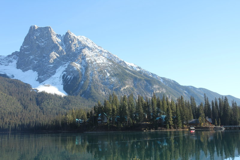 Emerald Lake with Mount Field in the background.
