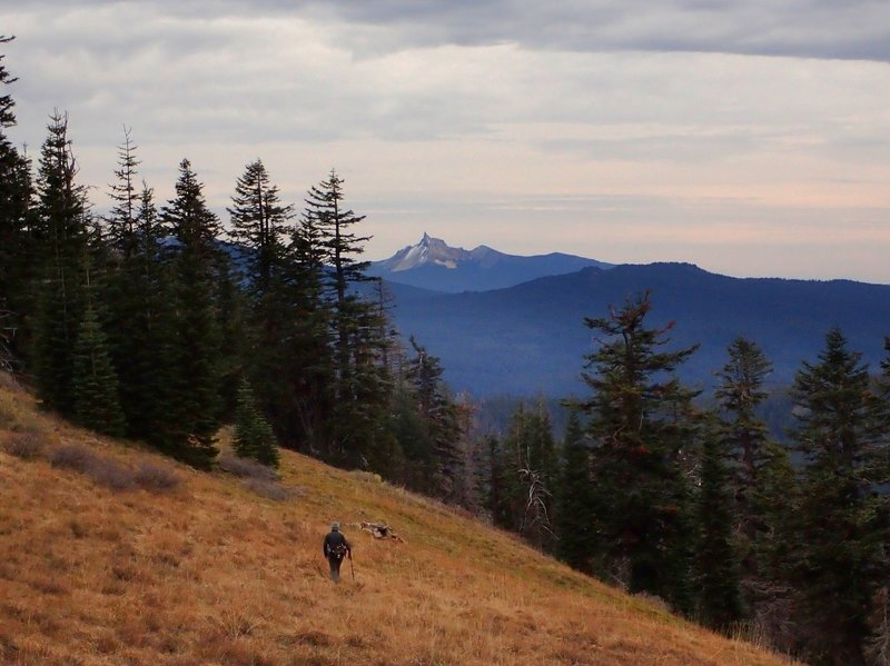 Descending the spur trail with Mount Thielsen in the distance