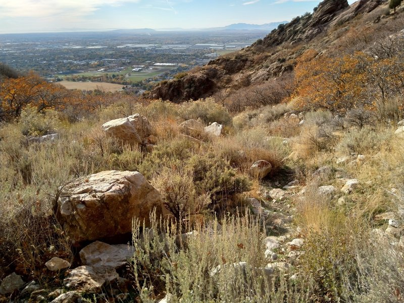 Looking down to the Salt Lake Valley from the Jump Off Canyon Waterfall Trail.