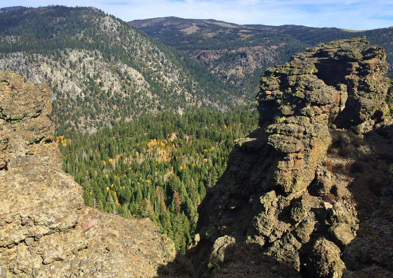 Striking rock layers at the bluffs overlooking Hope Valley