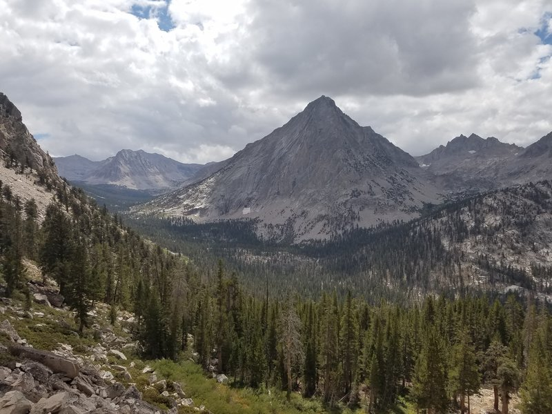 View of East Vidette Peak on the trail between Junction Meadow and Charlotte Lake