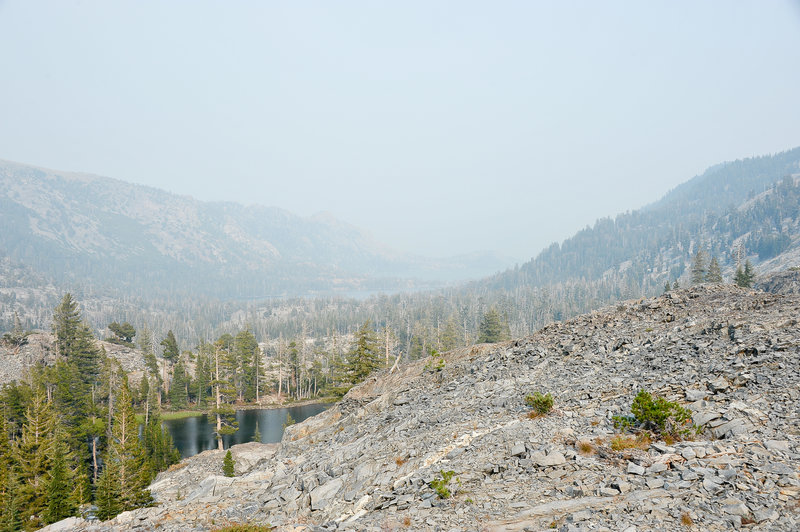 Above Ralston Lake, looking back towards Eco Lakes, through wild fire smoke.
