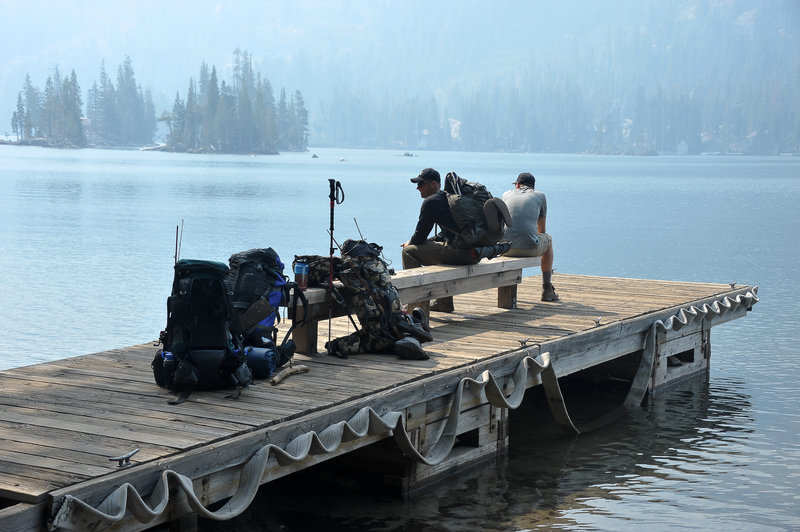 The pier on upper Eco Lake, waiting for the water taxi to take us home. A lot of wild fire smoke on this trip.
