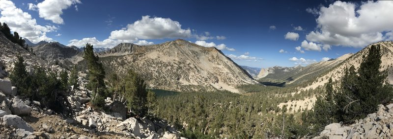 Overlooking Charlotte Lake and Charlotte Creek water shed to the northwest. Beautiful spot!