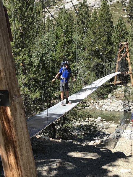 Woods Creek suspension bridge crossing.