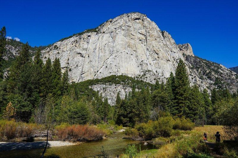 Sheer granite cliffs surround the trail around Zumwalt Meadows.