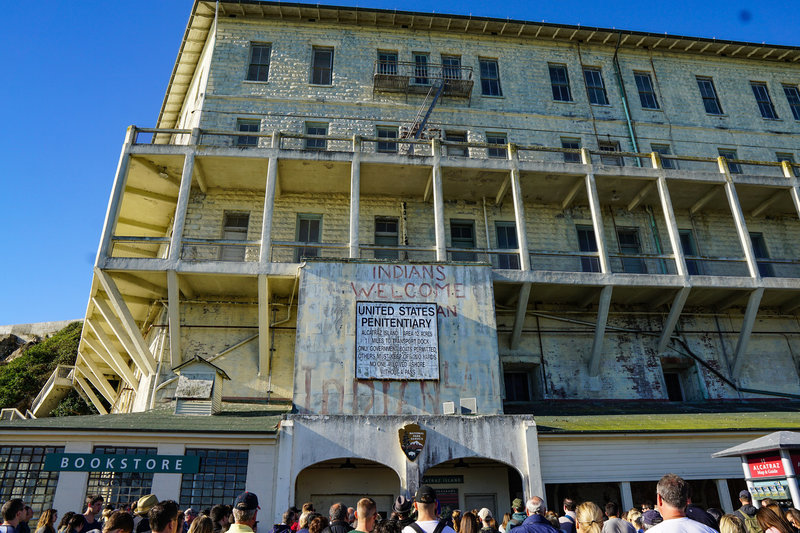 The guard apartments and the entrance to Alcatraz Island.