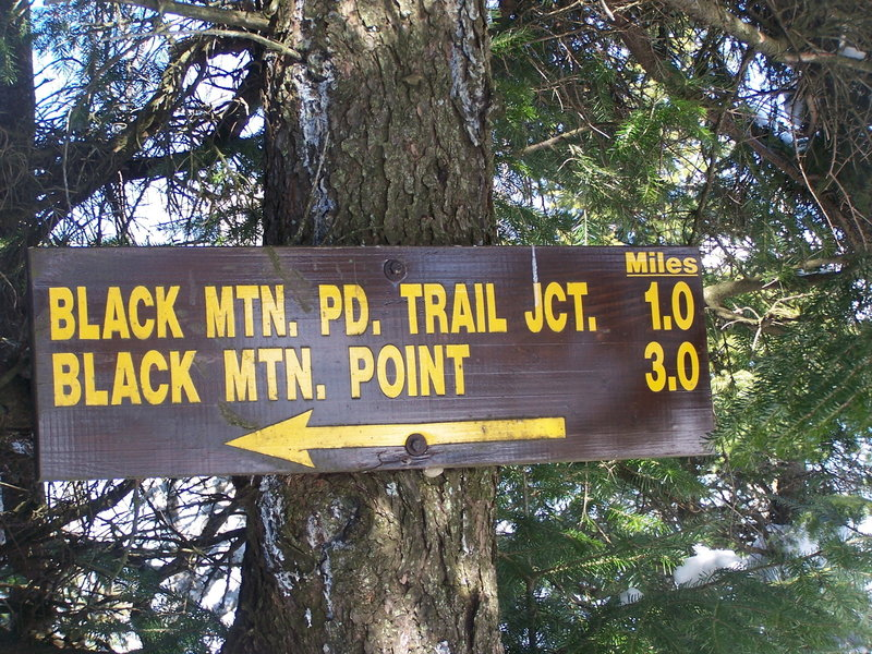 Sign to Foot Trail Down Back of Mountain at Black Mountain.