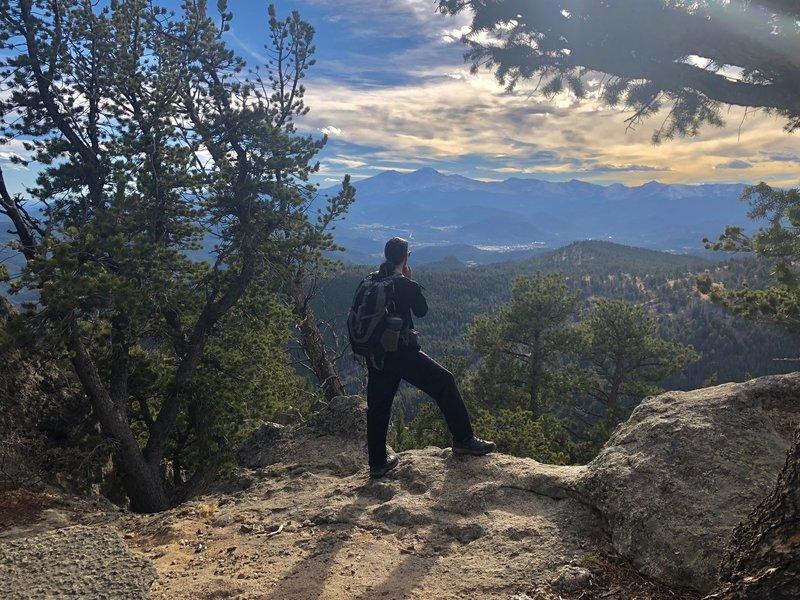 Enjoying views of the Rockies and Estes Park.
