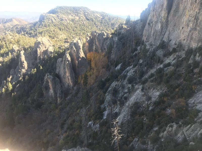 About a mile from the San Pedro Trailhead, looking southeast.  This one of the most scenic trails on Mt Lemmon.