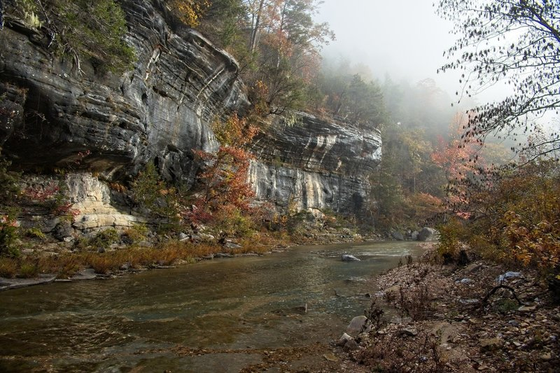 North Sylamore Creek, near a campsite, misty fall morning.