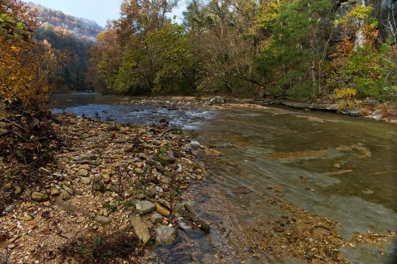 North Sylamore Creek, crystal clear water, bottom of creek is solid slab of rock.