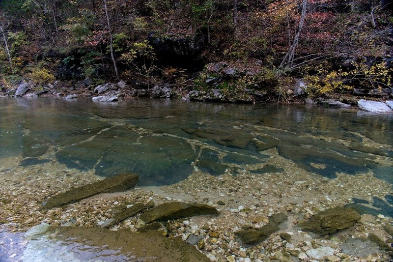 North Sylamore Creek, solid rock bottom of creek - ultra clear water.
