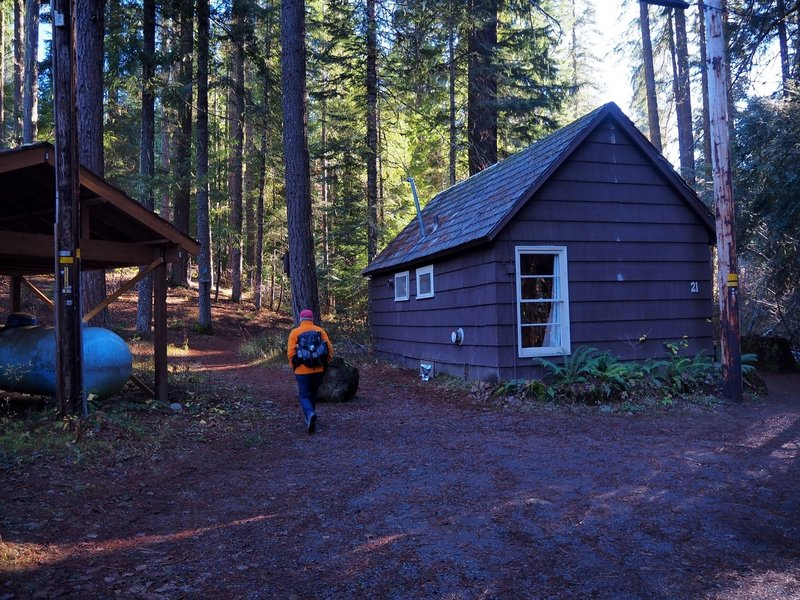 The trail starts behind Cabin #21 at the resort