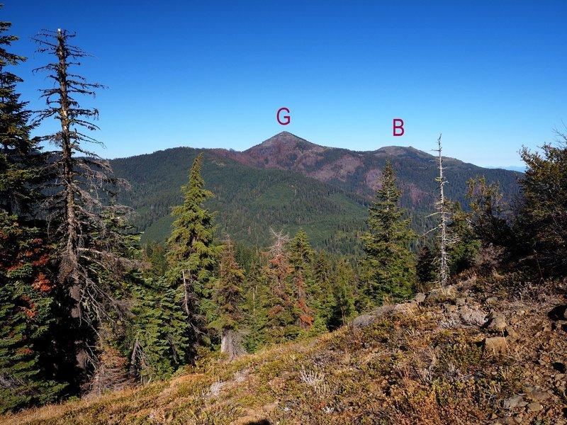 Grayback Mountain (G) and Big Sugarloaf Peak (B) from the rocky ridge above Miller Lake.